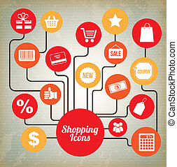 shopping icons over vintage background vector illustration