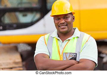 africano, mina, trabalhador, braços, dobrado