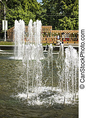 Fountain in Sokolniki Park on a sunny summer day. Russia,...