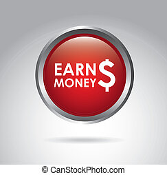 earn money over gray background vector illustration