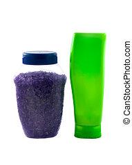 Plastic green bottle and bath salt - Plastic green bottle...