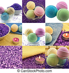 Spa set collage made from nine photos