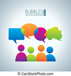 bubbles communication icons over gray background vector...