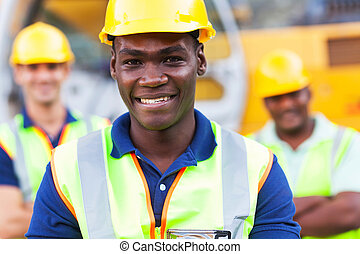 african american construction worker - happy african...