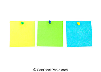 Blank post-its - Three memory sticks in the white background