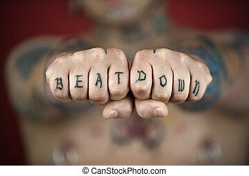 hostil, tatuagem, mãos