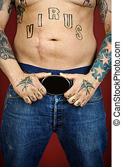 Adult male with tattoos. - Caucasian mid-adult man with...