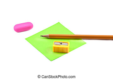 Sharpener and pencil - Sharpener, pencil and green memory...