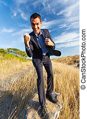cheerful businessman outdoors - cheerful businessman...