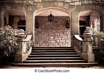 Vintage Portico - Stone steps and entryway to portico with...