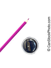 Sharpener and pencil - Sharpener and pink pencil, isolated...