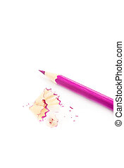 Sharpener and pencil - Pink sharp pensil, isolated on the...