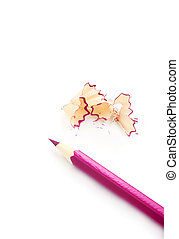Sharpener and pencil - Pink pencil, isolated on the white...