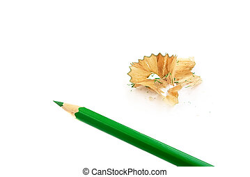 Sharpener and pencil - Green sharp pencil, isolated on the...