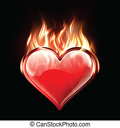 Conceptual vector illustration of a burning heart
