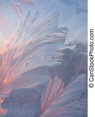 Frost and sun background - Frost and sun on winter window