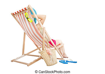 relaxed woman sitting on  beach chairs isolated on white
