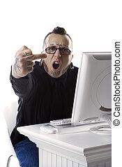 Man giving middle finger.