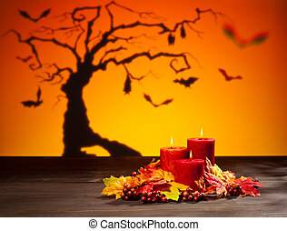 Candles in Halloween setting