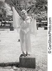 Infrared Photo of Young Woman iin Her Lingerie - Infrared...