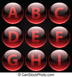 Red glossy alphabet letters (A-I) on black