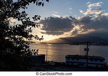 burrard inlet nearing sunset - peaceful burrard inlet...