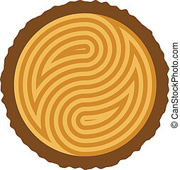 vector wooden log cut with rings forming yin and yang symbol