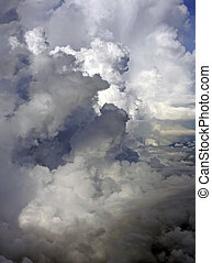 Clouds before a thunder-storm. A view from a window of the...