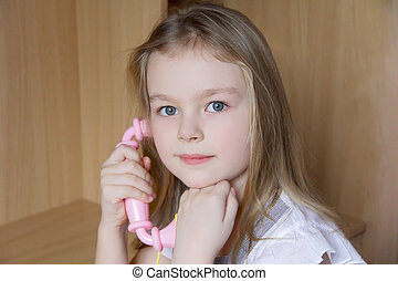 Portrait of girl with phone