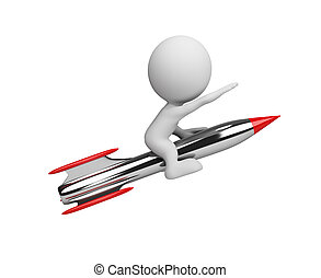 3d person on a rocket - 3d man flying on a rocket 3d image...