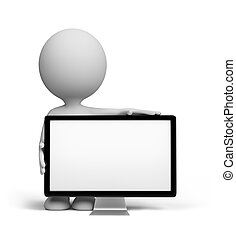 3d person with TV - 3d person standing next to a TV. 3d...