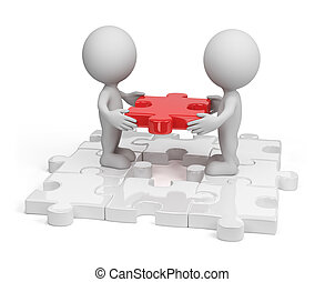 Missing link - Two person inserting last piece of the...