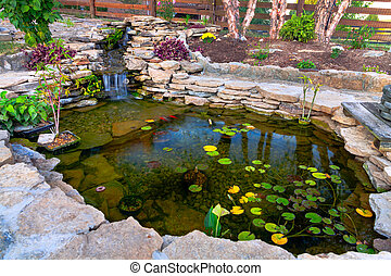 Pond - Decorative koi pond in a garden