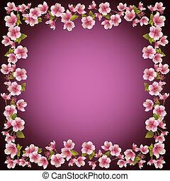 Floral frame, sakura blossom background, vector - Floral...