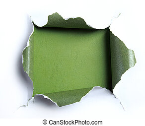 white torn paper with square shape over green background