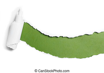 ripped white paper over green color background