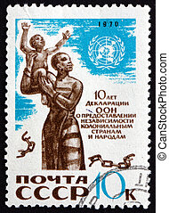 Postage stamp Russia 1970 African Mother and Child - RUSSIA...