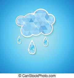 hexagonal cloud with rain drops cover