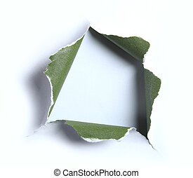 white with green torn paper with square shape over light...