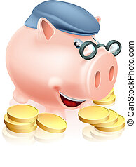 Pensioner savings concept - A happy senior piggy bank...