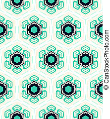 Pattern with stylized flowers in 1950s style. - Geometrical...