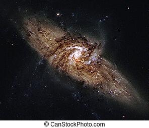 spirale, galaxie, extérieur, espace