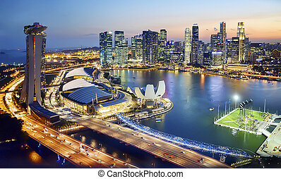 marina bay, singapore - marina bay and surrounding skyline...
