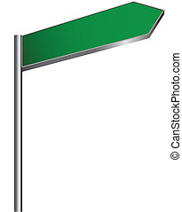Street sign - Blank green street sign on white background....