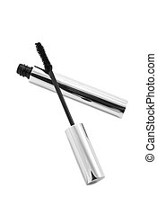 Tube with black mascara and brash - Silver tube with black...