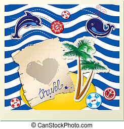 Funny Card with dolphin, whale, island with palms on stripe background