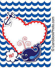 Funny Card with whale, anchor and empty frame for text on stripe background