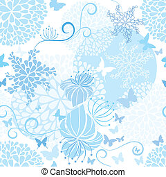 Light Blue floral seamless pattern