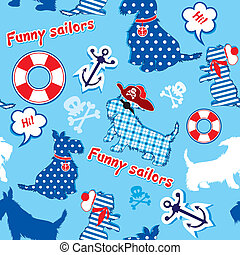Seamless pattern with funny scottish terrier dogs - sailors,...