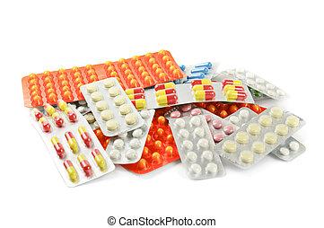 Medicina, píldoras, multicolor